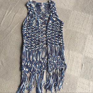 Hippie Blue Braided Fringed Stretch Open Vest
